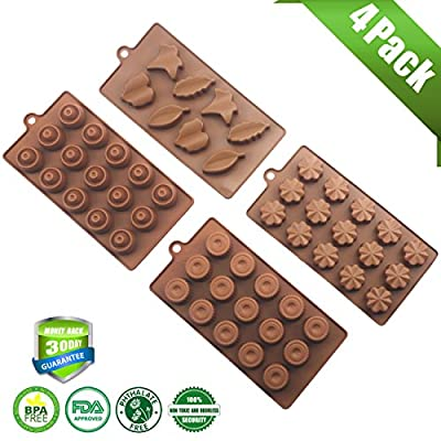 Silivo 4 Pack 43-Cavity Silicone Molds-Leaf Round Plum Blossom Shape for Making Homemade Chocolate,Candy,Gummy,Jelly,Ice and More(Brown)