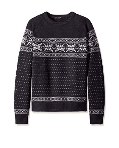 J. McLaughlin Men's Jacquard Banff Crew Neck Snowflake Sweater