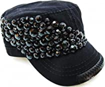 Ladies Beaded Olive & Pique Military Style Cap (Black)