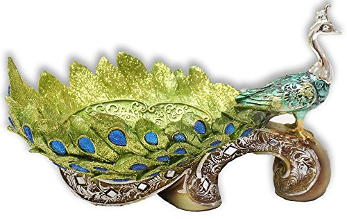 Peacock Statuette With Shallow Bowl