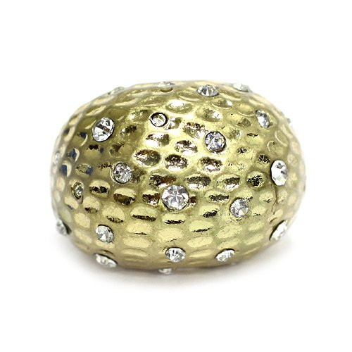 Rhinestone Hammered Ring; 1