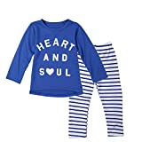 Jastore® Baby Girls 2 Piece Set Blue Long Sleeve T-shirt and Stripes Leggings (6T)