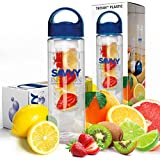 Savvy Infusion Water Bottle - 24 Oz - Create Your Own Naturally Flavored Fruit Infused Water, Juice, Iced Tea, Lemonade & Sparkling Beverages