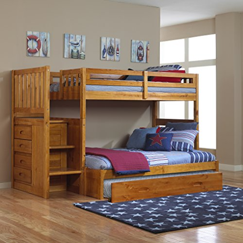 Mission Twin Over Full Staircase Bunk Bed with Trundle in Honey Finish
