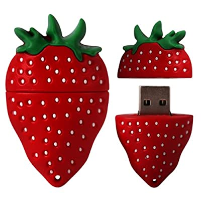 8 GB Novelty XYLO-FLASH Strawberry Keyring USB 2.0 Memory Stick / Pen Storage Drive Compatible With PC / Mac. by XYLO ACCESSORIES