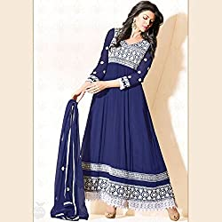 New Royal Blue Cotton kali Georgette salwar suit