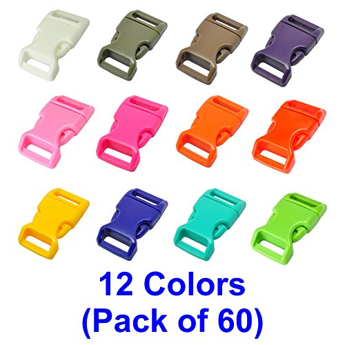 """LIHAO 60 PCS 12 Colors 5/8"""" Plastic Quick Side Release Buckle (High Quality)"""