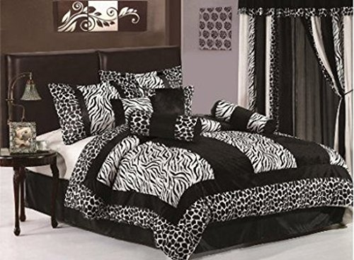 7 Pc Luxury Black And White Micro Fur Zebra With Giraffe Design - Full / Queen Size Duvet Set front-782899