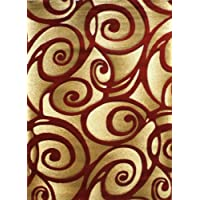 Modern Area Rug Design Sculpture 241 Red