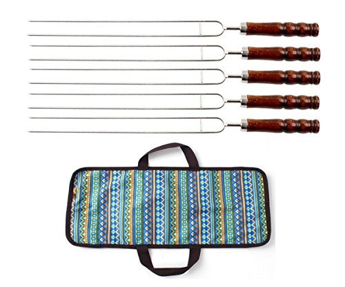 Barbecue Forks Set ,Skewers Roasting Sticks Meat Vegetable Hotdog Forks BBQ Tools with Wooden Handle for Outdoor Camping ,Pack of 5 With Bag (Funny Hot Dog Roaster compare prices)