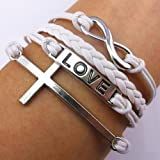 EVERMARKET(TM) Fashion Infinite Bracelet Cross Bangle White Leather Knit Rope Love Punk Charms