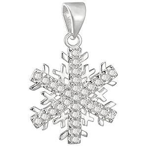 Vinani Pendentif - Flocon de Neige grand - lustré - Zirconia blanc - Argent 925 - AJS-EZ