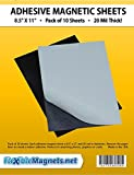 "10 Adhesive Magnetic Sheets - 8.5"" x 11"" - 20 mil Magnet - Peel & Stick"