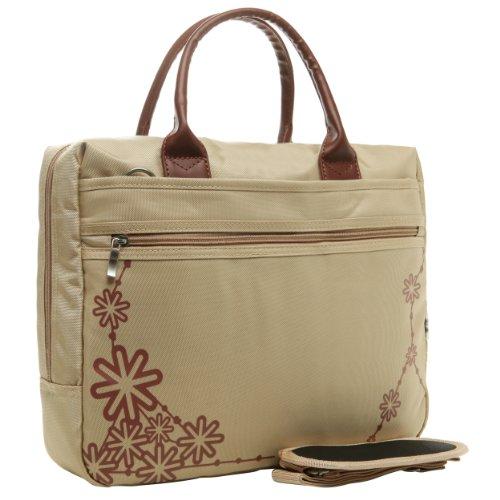 14 Inch Beige Star Burst Constellation Motif Supreme Quality Laptop Messenger Bag Notebook Carrying Case Travel Briefcase By MyGift