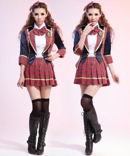 コスプレ AKB48 言い訳Maybe コスチューム + ニーハイ・ストッキング付き。 7点セット! 高品質衣装 コスプレ衣装 可愛い 人気 赤・紺 チェック柄 48