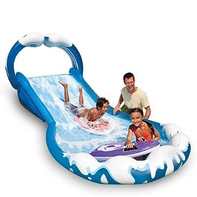 Intex Wasserrutsche Wasserrutschbahn Wasserbahn aufblasbar 406 x 168 x 163 cm mit 2 Wellenreitern