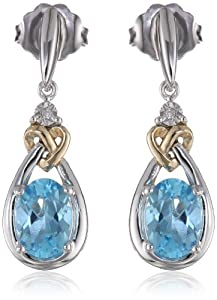 Love Knot Sterling Silver and 14k Yellow Gold Blue Topaz with Diamond-Accent Earrings from Amazon Curated Collection