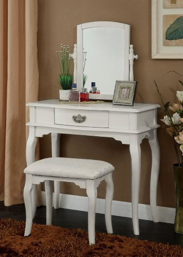 Enitial Lab Priscille 2-Piece Vanity and Stool Set, White
