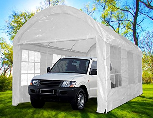 Peaktop® 20'x10' Heavy Duty Outdoor Carport Car Shelter Garage Gazebo Canopy Party Tent Arch Style White (Garage Carport compare prices)
