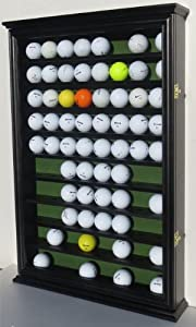 80 Golf Ball Display Case Cabinet with Glass Door, Solid Wood, GB80-BLA by DisplayGifts
