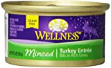 Wellness Natural Grain Free Wet Canned Cat Food, Minced Turkey Recipe, 3-Ounce Can (Pack of 24)