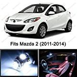 6 x Premium Xenon White LED Lights Interior Package Kit for Mazda 2 (2011-2014)