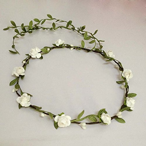 Fashion Bohemia Green Leaf Tessel Flower Garland Multicolor Artificial Happie Floral for Basket Girl Wedding Bride Prop Amfw1076 (white)