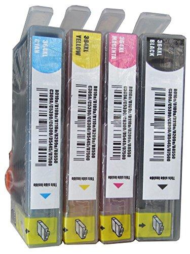 ESMOnline 4 Komp. Druckerpatronen mit Chip Ersatz für HP364 HP364XL 1 x Schwarz 1 x Blau 1 x Rot 1 x Gelb