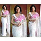 SHILPA SHETTY WHITE NET SAREE WITH BLOUSE-7638
