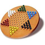 WE Games Solid Wood Chinese Checkers with Wooden Pegs - 11.5 inch Diameter
