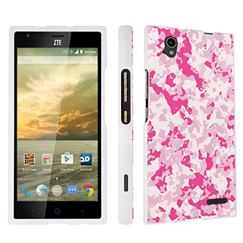DuroCase ZTE Warp Elite N9518 Boost Mobile Released in 2015 Hard Case White - Camouflage Pink