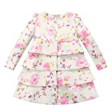 Richie House Girls Girls Floral Tiered Dress-coat RH0709