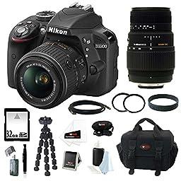 Nikon D3300 Digital SLR Camera with 18-55mm Lens (Black) + Sigma 70-300mm f/4-5.6 SLD DG Macro Lens + 32GB Memory Card + Camera Case + 52mm & 58mm UV Protector + Accessory Kit