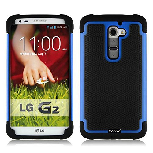 Cocoz® Dual Layer Protective Case Cover (Hard Plastic With Soft Silicon) For Lg G2 Case With Protection (Lg G2 Case)+Dust Stylus (Blue & Black) front-856899