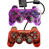 Saloke Wired Gaming Controller for Ps2 Double Shock (Clear Purple and Clear Red1) (Color: Clear Purple and Clear Red1)