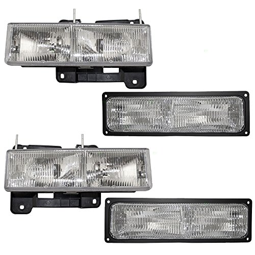 Driver and Passenger Composite Headlights & Front Signal Marker Lamps Replacement for Chevy GMC Pickup Truck SUV (96 Gmc Yukon Headlight Assembly compare prices)