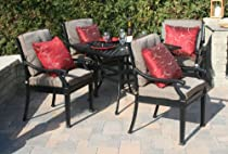 "Big Sale The Moncler Collection 4-Person All Welded Cast Aluminum Patio Furniture Dining Set With 36"" Square Table"