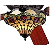"""52"""" Colonial Tulip Tiffany Stained Glass Ceiling Fan"""
