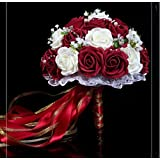 """Hestian 10"""" Wine Red and Ivory Roses with Pearls Chain , Beautiful Ribbon Bridal Wedding Bouquet Silk Rose Hand Tie (30pcs Roses)"""