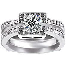 buy Wedding Ring Guard Set Includes: 1 Ct. Round Cz Solitaire With Silver Guard With Black And White Cz