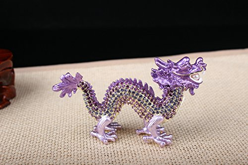 Crystal Chinese Dragon Statue Dragon Feng Shui Items (Purple)