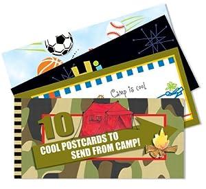 10 Bright Assorted Summer Camp Postcards Per Booklet
