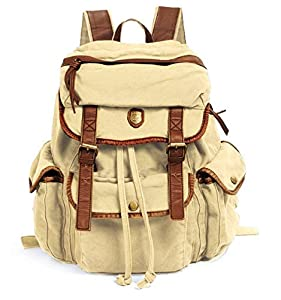 Vintage Canvas Leather Travel Rucksack Military Backpack - Dark Brown