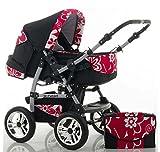 CALIDAD Carrito y Silla de paseo 2 en 1 FLASH - Todo incluido - Mucho accesorios de color Roja-Floral