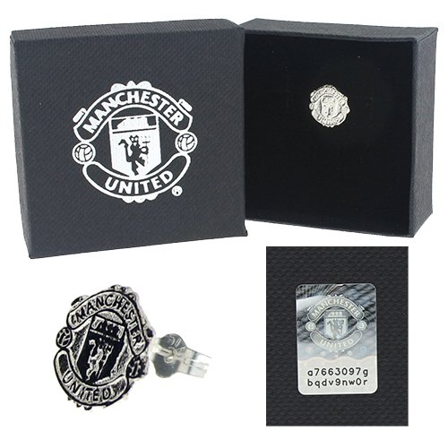 Sterling Silver Manchester United Crest Earring - Single