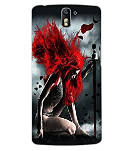 ColourCraft Warrior Girl Design Back Case Cover for OnePlus One