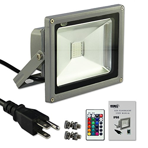 Esco-Lite 20W RGB Color Changing LED Flood Light with Memory Function with safety Ground Wire AC Cable 1.5M US 3-Plug with DIY screws kit for Home Outdoor Hotel Garden