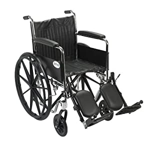 Drive Medical Chrome Sport Wheelchair with Various Arm Styles and Front Rigging Options, Black and Chrome, 18""