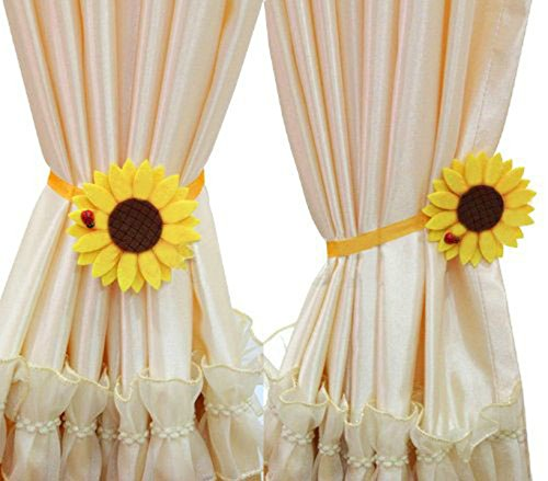 Ayygift 1 Pair Sunflower Curtain Magnetic Tiebacks Non