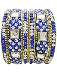 Blue Gold Plated Designer Bangles Set By My Design(size-2.4)